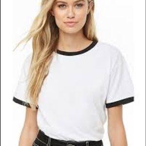 Black white ringer tee t-shirt top blouse shirt m